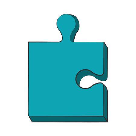 Puzzle piece symbol isolated cartoon vector illustration graphic design