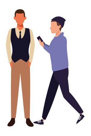 casual people men with technology device cartoon vector illustration graphic design Ilustração