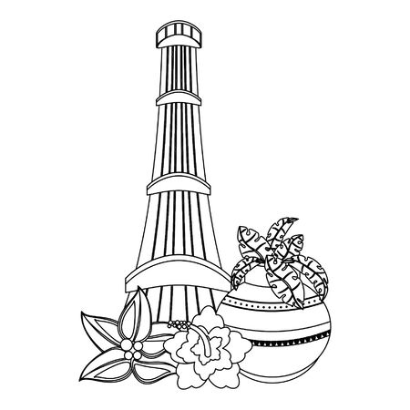 Indian patriotic emblems cartoons tower and lotus flowers isolated vector illustration graphic design