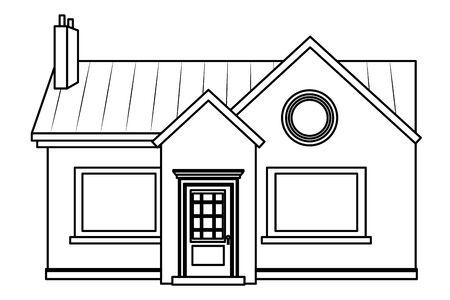 house building with chimney icon cartoon isolated vector illustration graphic design Illusztráció