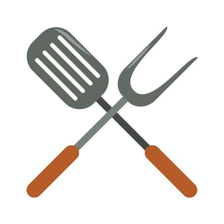 restaurant food and cuisine crossed kitchen spatula and big fork icon cartoons vector illustration graphic design