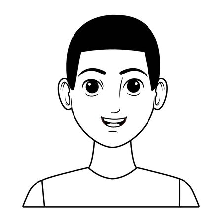 Jeune homme afro-américain portant un personnage de dessin animé avatar t-shirt bleu en noir et blanc vector illustration graphic design Vecteurs