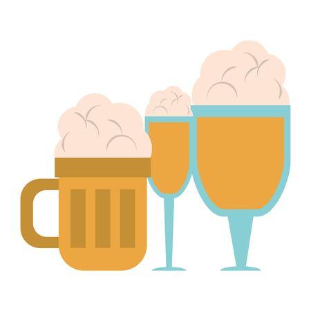 beverage liqueur and drink big glasses of beer icon cartoons vector illustration graphic design