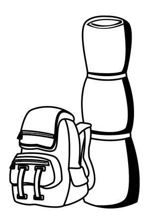Camping travel backpack with sleeping ,vector illustration graphic design.