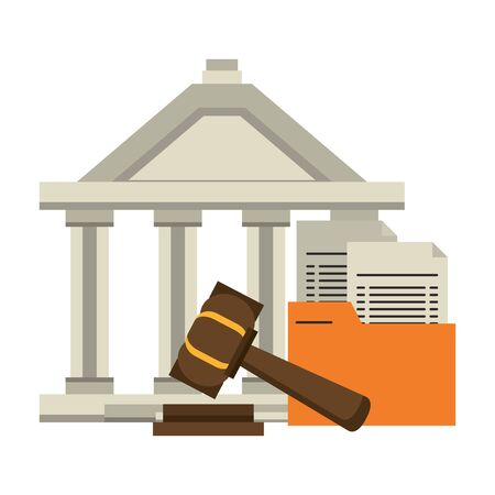 Justice building with documents and gavel symbol vector illustration Illustration