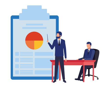 two businessmen avatar character with big documents table with data chart icon cartoon vector illustration graphic design