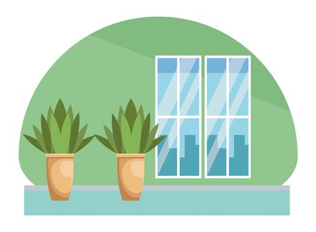 House scenery with plant pots and windows cityscape view vector illustration graphic design.