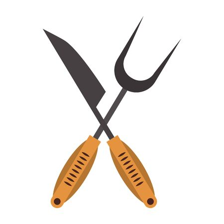 Kitchen barbecue utensils for grill knife and fork vector illustration graphic design