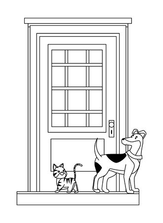 domestic animals and pet dog and cat in front of a house door in black and white vector illustration graphic design