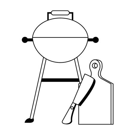 Kitchen barbecue utensils for grill table and axe vector illustration graphic design
