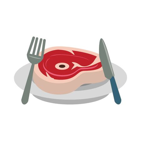 Barbecue food steak with fork and knife on dish vector illustration graphic design 일러스트