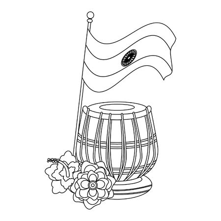 India independence day emblems flag drum and lotus flowers cartoons vector illustration graphic design Standard-Bild - 129075864