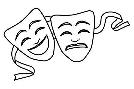 theater mask icon cartoon black and white vector illustration graphic design Imagens - 129075880