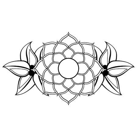 lotus blossom flowers nelumbo nucifera gaertn icon cartoon vector illustration graphic design Standard-Bild - 129075986