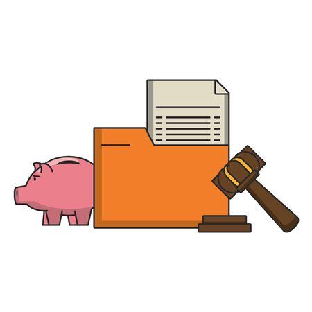 Money piggy and folder with document and gavel symbols vector illustration Stock Illustratie