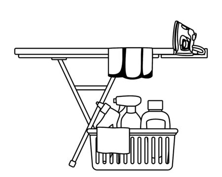 laundry wash and cleaning liquid soap, spray cleaner and cleaning shampoo into a cleanliness basket with a cloth, clothes iron, folded clothes over an ironing board icon cartoon in black and white vector illustration graphic design Vectores