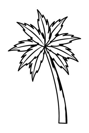 Palm beach tree nature cartoon vector illustration graphic design Stock Illustratie