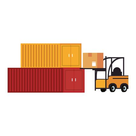 Forklift loading box to freighter containers vector illustration