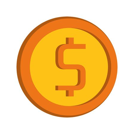 Moeny coin with cash symbol isolated vector illustration graphic design