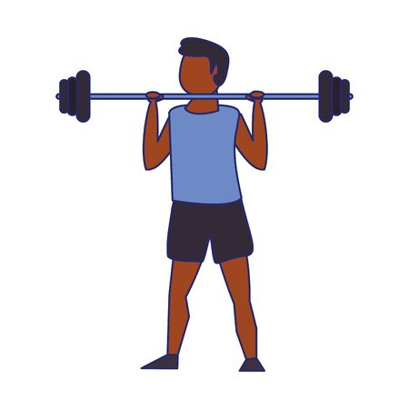 Fitness afroamerican man lifting weights avatar vector illustration graphic design
