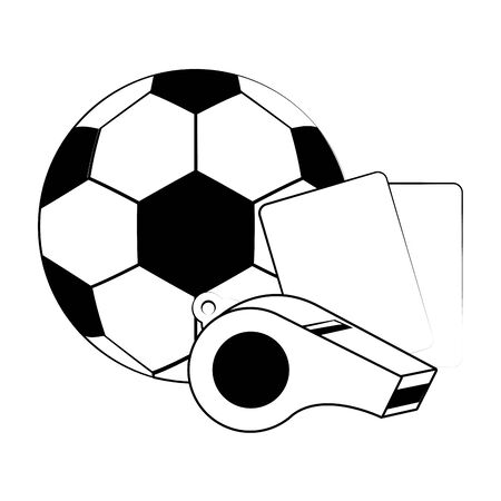 Soccer football sport game ball and referee cards with whistle vector illustration graphic design Ilustração
