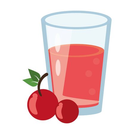 healthy drink juice cherry nature glass cartoon vector illustration graphic design Иллюстрация