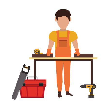 Carpenter working with wooden plank and tools on desk vector illustration graphic design Stock Illustratie