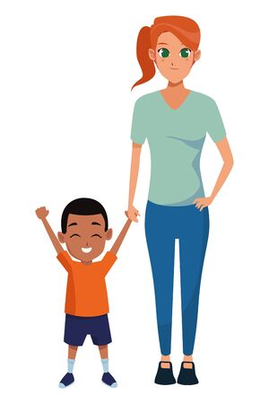 Family single mother with little son cartoon vector illustration graphic design Vectores