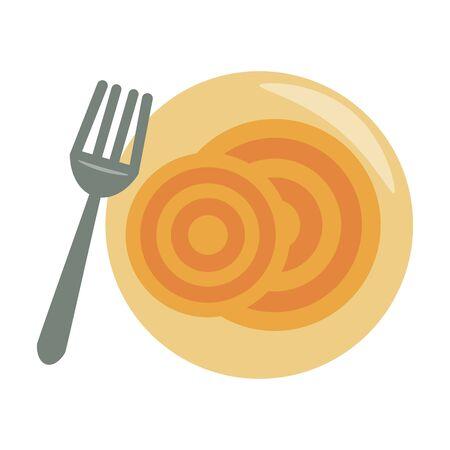 restaurant, nourriture et cuisine, spaguetti, sur, a, plaque, à, a, fourchette, icône, dessins animés, vecteur, illustration, graphisme