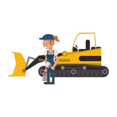 Construction worker with excavator vehicle cartoon vector illustration graphic design