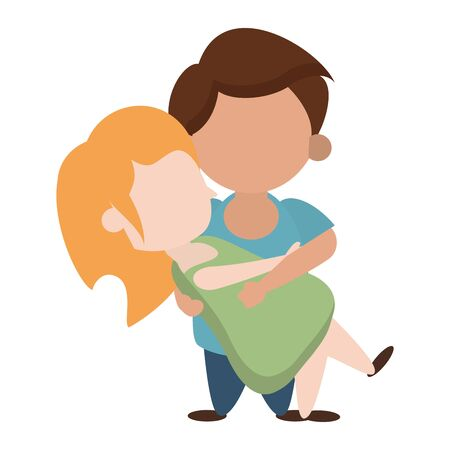 Kids in love boy holding girl cartoon vector illustration graphic design