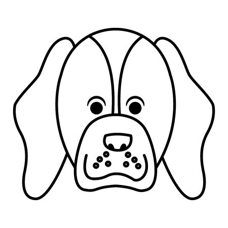 cute dog icon cartoon profile portrait brown isolated black and white vector illustration graphic design Archivio Fotografico - 129104667