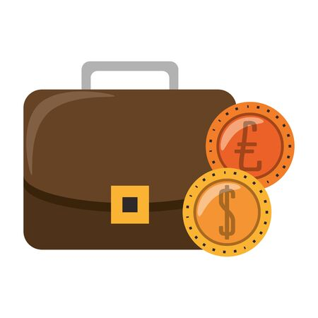 Business briefcase with euro and dollar coins isolated vector illustration