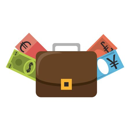 Business briefcase with euro dollar and yen cash isolated vector illustration Stock Illustratie