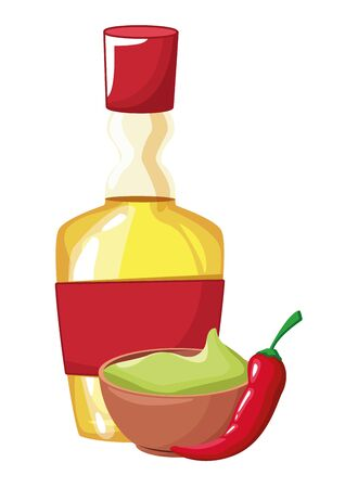 mexican food and tradicional culture with a guacamole, tequila bottle and chili pepper icon cartoon vector illustration graphic design