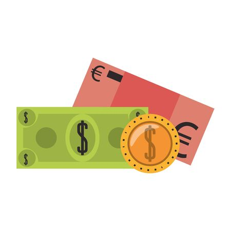Euro and dollar with coin money isolated vector illustration Stock Illustratie