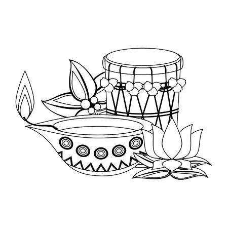 traditional indian culture elements with drum, lamp and lotus flower icon cartoon vector illustration graphic design Standard-Bild - 129113367