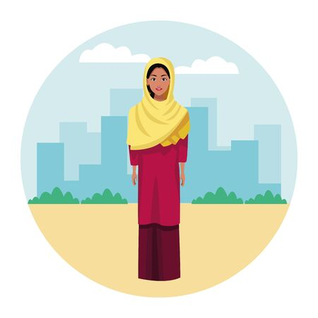 indian woman with hiyab wearing traditional hindu clothes profile picture avatar cartoon character portrait over the sand Banque d'images - 129115090