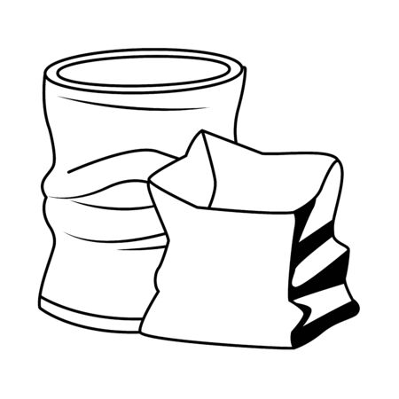 crumpled aluminum soda can and paper bag icon cartoon in black and white vector illustration graphic design