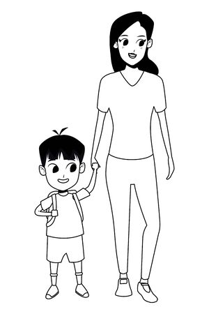 Family single mother with kid son holding school backpack isolated vector illustration graphic design Standard-Bild - 130712135