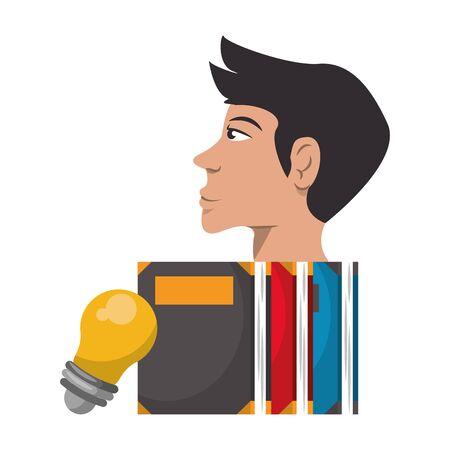 Books and human head with bulb light idea cartoon vector illustration graphic design