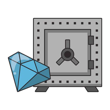 Strongbox and luxury diamond symbols vector illustration