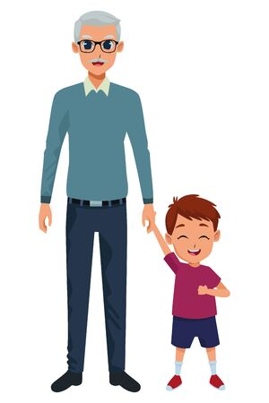 grandson and grandfather of hand isolated vector illustration graphic design