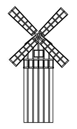farm, animals and farmer windmill icon cartoon in black and white vector illustration graphic design