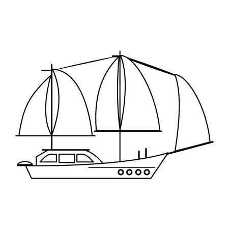 Sail boat ship sideview cartoon isolated vector illustration graphic design 向量圖像