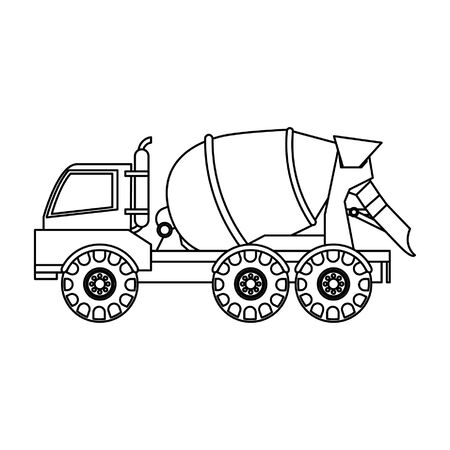 Construction cement truck vehicle sideview isolated vector illustration graphic design