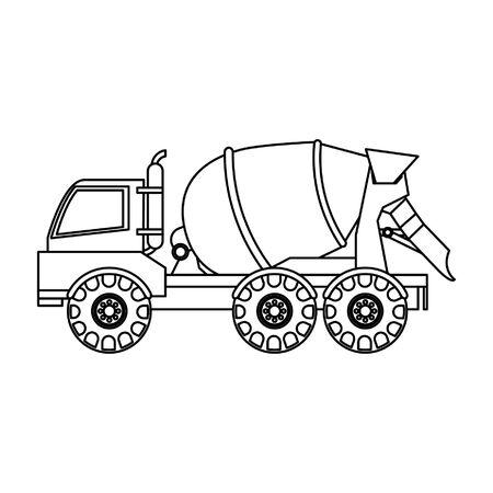 Costruzione di cemento camion veicolo vista laterale isolato illustrazione vettoriale graphic design