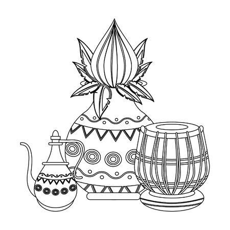 Indian lotus flowers and decorative porcelain jars with leaves isolated vector illustration graphic design Standard-Bild - 129127979