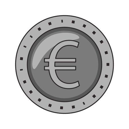 Euro coin money symbol isolated vector illustration Stock Illustratie