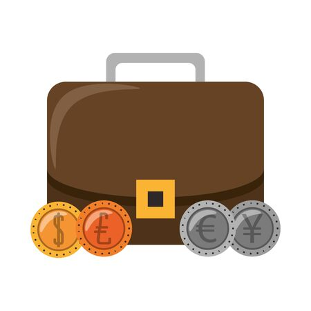 Business briefcase with euro dollar and yen coins isolated vector illustration Stock Illustratie
